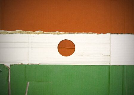 Flag of Niger made with corrugated cardboard Stock Photo