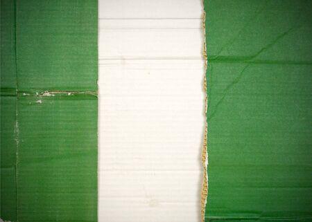 Flag of Nigeria made with corrugated cardboard