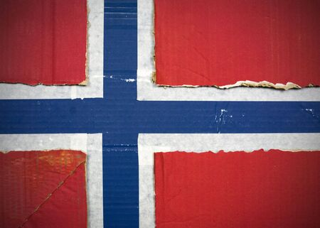Flag of Norway made with corrugated cardboard Stock Photo