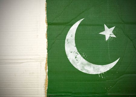 Flag of Pakistan made with corrugated cardboard Stock Photo