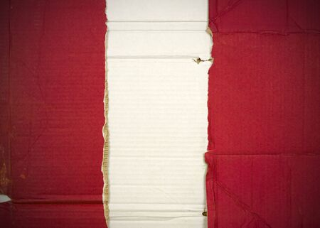 Flag of Peru made with corrugated cardboard