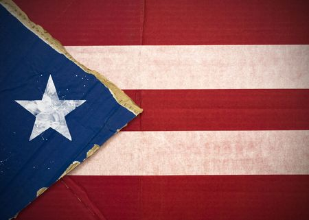 Flag of Puerto Rico made with corrugated cardboard