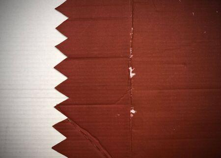 Flag of Qatar made with corrugated cardboard