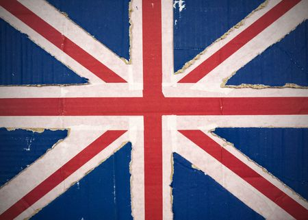 Flag of United Kingdom, UK made with corrugated cardboard