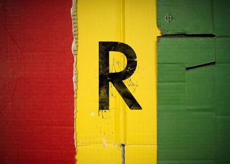 Flag of Rwanda made with corrugated cardboard