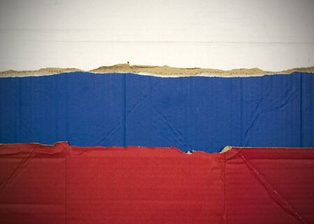 Flag of Russian Federation made with corrugated cardboard