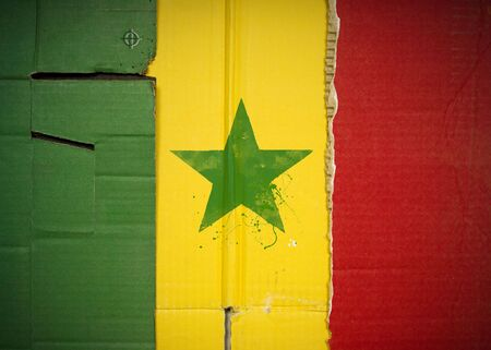 Flag of Senegal made with corrugated cardboard