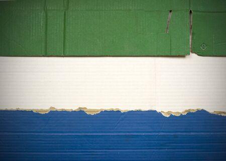 Flag of Sierra Leone made with corrugated cardboard