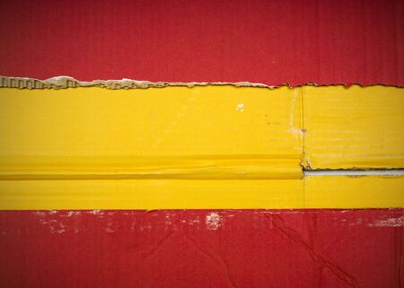 Flag of Spain made with corrugated cardboard