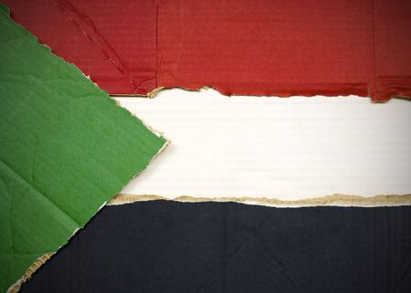 Flag of Sudan made with corrugated cardboard