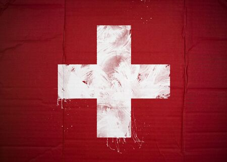 Flag of Switzerland made with corrugated cardboard