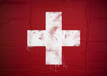 Flag of Switzerland made with corrugated cardboard photo