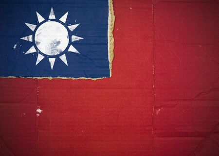 Flag of Taiwan made with corrugated cardboard