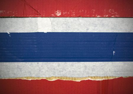 Flag of Thailand made with corrugated cardboard Stock Photo