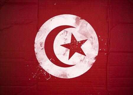 Flag of Tunisia made with corrugated cardboard