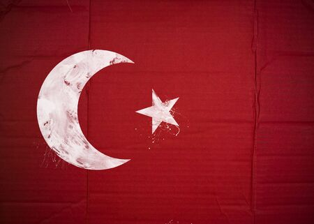 Flag of Turkey made with corrugated cardboard