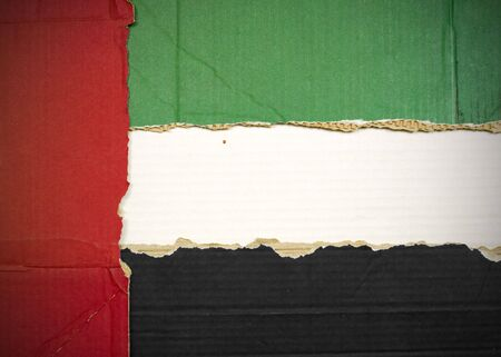 Flag of United Arab Emirates made with corrugated cardboard