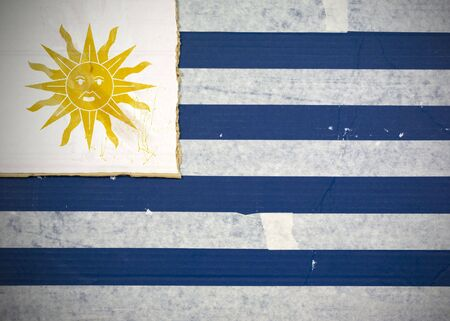 Flag of Uruguay made with corrugated cardboard Stock Photo