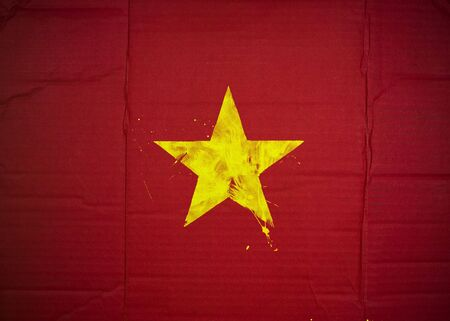 Flag of Vietnam made with corrugated cardboard