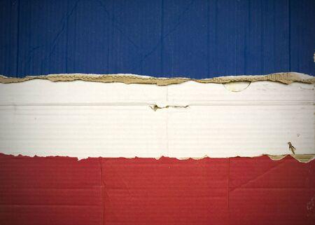 Flag of Yugoslavia, Serbia, Montenegro made with corrugated cardboard