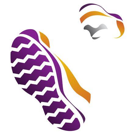 Silueta de la ejecución de zapatillas de deporte.  Ilustración de vector