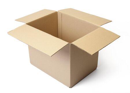 Corrugated cardboard box isolated on white background. Stock Photo