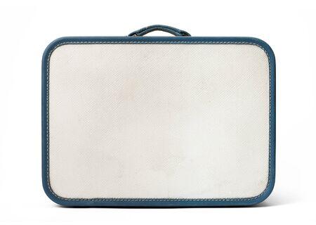 Retro traveled suitcase isolated on white.
