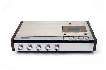Retro audio cassette tape player recorder isolated on white.