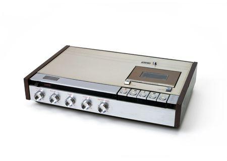 Retro audio Kassettenrekorder Kassettenrecorder isoliert auf weiß. Standard-Bild - 6913094