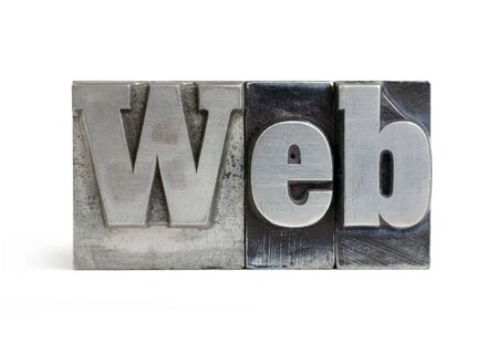 Isolated printers blocks letters forming the word web. Stock Photo
