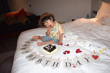 happy birth day: happy birth day cute boy with birth day chocolate cake