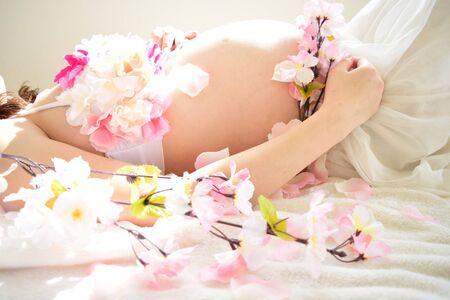 Moederschap Foto van vrouwen die zwanger zijn Stockfoto