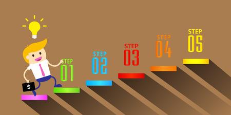 businessman jump over growing chart. money chart. vector illustration.ladder to success. Vektorové ilustrace