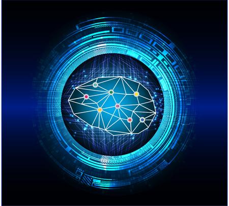 Brainstorm, Brain. Bulb Ideas. Blue abstract hi speed internet technology background illustration. scan virus computer.