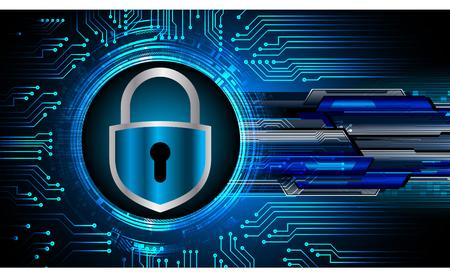 Sicherheitskonzept, geschlossenes Vorhängeschloss auf digitalem Hintergrund, Cybersicherheit,