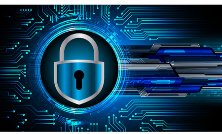 Safety concept, Closed Padlock on digital background, cyber security,