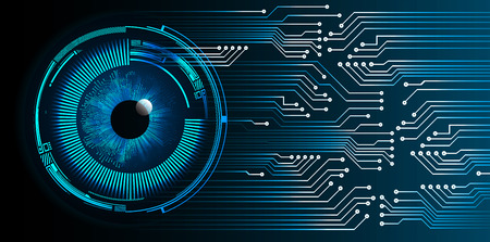 binary circuit board future technology, blue eye cyber security concept background.