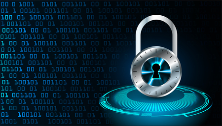 Safety concept, Closed Padlock on digital background and cyber security