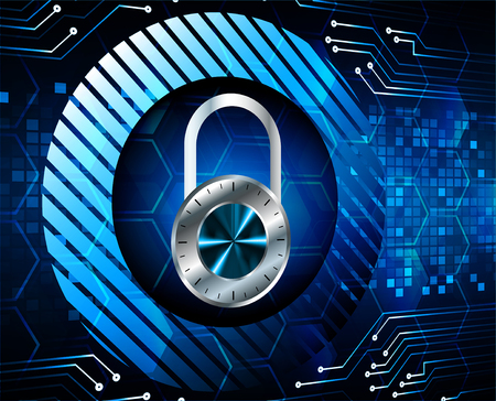 Safety concept, Closed Padlock on digital background, cyber security, Blue abstract hi speed internet technology