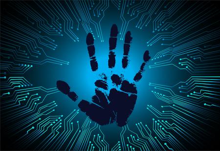 Safety concept,  cyber security, blue abstract hi speed internet technology background illustration. key, sci fi, fingerprint. scanning. Hand print.