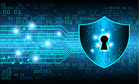 Concepto de seguridad, candado cerrado sobre fondo digital, seguridad cibernética, ilustración de fondo de tecnología de internet de alta velocidad abstracta azul. vector clave