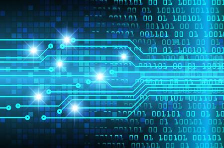Tecnología futura de placa de circuito binario, fondo azul del concepto de seguridad cibernética, internet digital de alta velocidad abstracto. vector de pixel Ilustración de vector