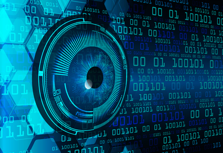 Carte de circuit imprimé binaire technologie future, arrière-plan de concept de cybersécurité oeil bleu, abstrait Internet numérique haute vitesse. vecteur de pixel Vecteurs