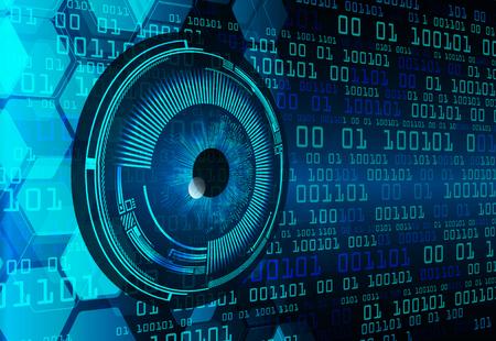 Zukunftstechnologie der binären Leiterplatte, Hintergrund des Cyber-Sicherheitskonzepts des blauen Auges, abstraktes digitales Internet der hohen Geschwindigkeit.motion bewegen Unschärfe. Pixelvektor Vektorgrafik
