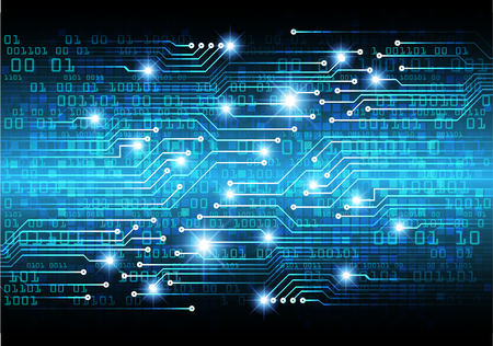 binary circuit board future technology, blue cyber security concept background, abstract hi speed digital internet.motion move blur. pixel vector Illustration