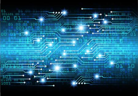 Zukunftstechnologie der binären Leiterplatte, Hintergrund des blauen Cyber-Sicherheitskonzepts, abstrakte digitale Hochgeschwindigkeits-Internet-Bewegungsunschärfe. Pixelvektor