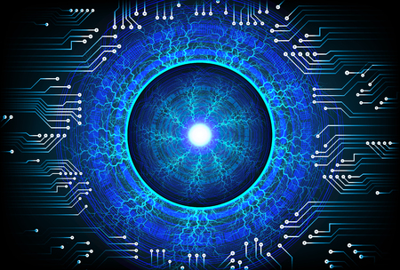 Blue eye cyber security concept background
