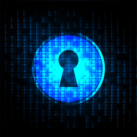 Safety concept, Closed Padlock on digital background, cyber security, Blue abstract hi speed internet technology background illustration.