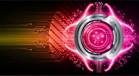 binary circuit board future technology, pink eye cyber security concept background, abstract hi speed digital internet.motion move blur. pixel vector