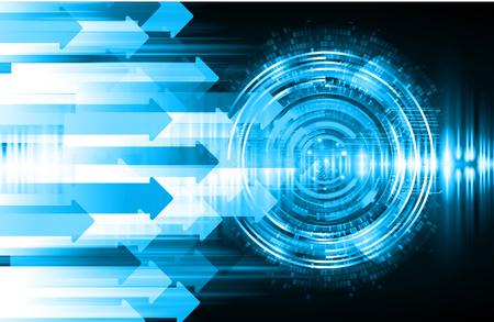 binary circuit board future technology, arrow blue eye cyber security concept background, abstract hi speed digital internet.motion move blur. pixel vector Иллюстрация